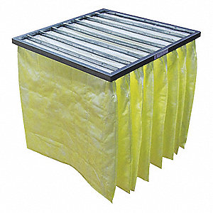 24x24x22, MERV 14, Synthetic, Pocket Air Filter, 95% Filter Efficiency, Media Color Yellow, 24 ga. G