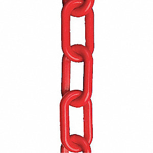 Plastic Chain,2 In x 300 ft,Red