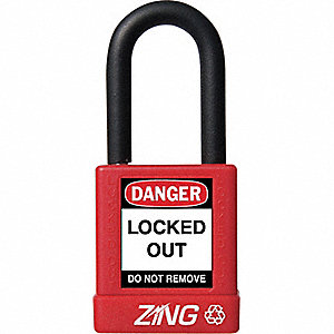 Red Lockout Padlock, Different Key Type, Master Keyed: No, Plastic Encased Aluminum Body Material