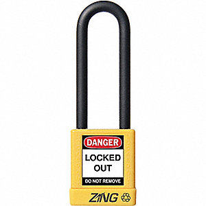 Yellow Lockout Padlock, Alike Key Type, Master Keyed: No, Plastic Encased Aluminum Body Material