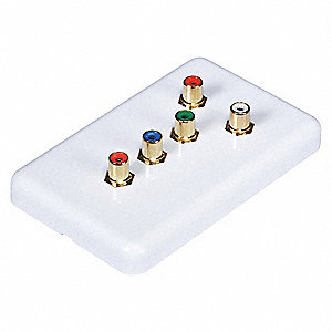 White Wall Plate, Red, Green, Blue, Red, White Connectors Audio/Video Wall Plate, Plastic