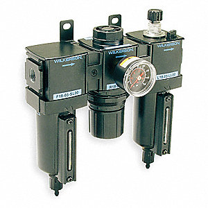 "1/2"" NPT Filter/Regulator/Lubricator, 70 cfm Max. Flow, 0 to 125 psi Adjustment Range"