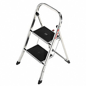 "Aluminum Household Step Stool, 30"" Overall Height, 330 lb. Load Capacity, Number of Steps 2"