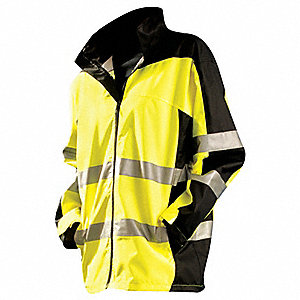 "Men's Yellow Polyester Breathable Rain Jacket with Hood, Size 2XL, Fits Chest Size 52"" to 54"", 32-1/"