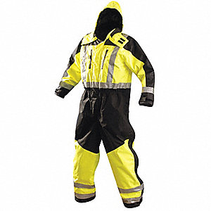 Men's Black/Hi-Visibility Yellow Polyester Cold Weather Coverall Rainsuit, Size: L, Fits Chest Size: