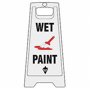 Floor Sign,English,Wet Paint,White