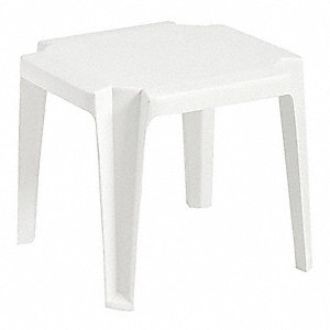 Side Table,Low,17 In Square,White