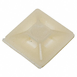 Cable Tie Mounting Pad, Four-Way, Adhesive Backed, Natural, 100 PK