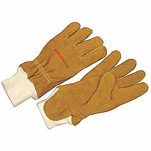 Firefighters Gloves,L,Cowhide Lthr,PR