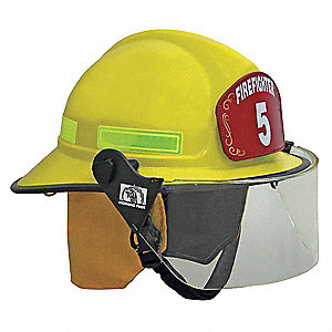 Yellow Fire Helmet, Shell Material: FYR-Glass Shell, 8pt. Ratchet Suspension, Fits Hat Size: 6 to 9-