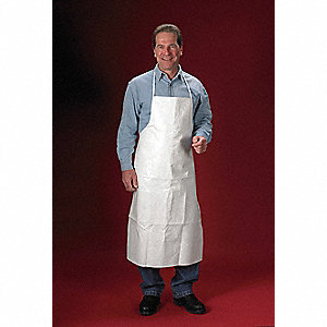 "Chemical Resistant Apron, White, 44"" Length, 28"" Width, ChemMax 2 Material, PK,  10"