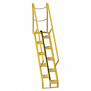 "Alternating Tread Stairs, Steel, 9 ft. 6"" Overall Height, 23-1/2"" Overall Width"