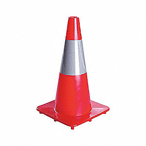 Traffic Cone,18In,Fluorescent Red/Orange