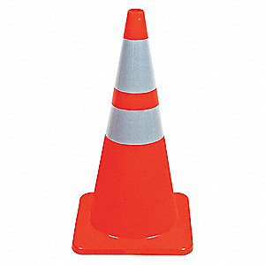 Traffic Cone,28In,Fluorescent Red/Orange