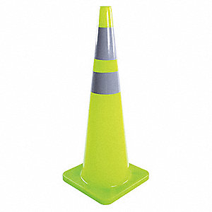 Traffic Cone,36 In.Fluorescent Lime