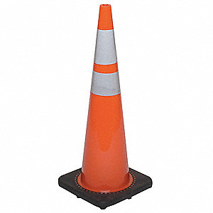 Traffic Cone,36In,Fluorescent Red/Orange