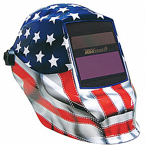 Auto Darkening Welding Helmet, Red/White/Blue, Trident w/ MagSense, 9 to 13 Lens Shade