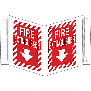 Fire Extinguisher Sign,12 x 18In,WHT/R