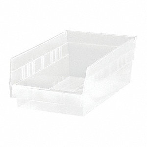 "Shelf Bin, Clear, 11-5/8"" Outside Length, 6-5/8"" Outside Width, 4"" Outside Height"