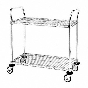 Utility Cart,SS,2 Wire Shelves,24Wx36L