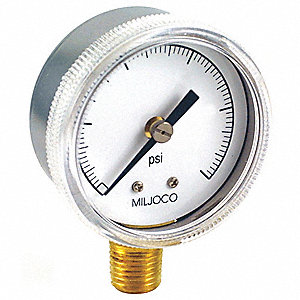 "Pressure Gauge, Test Gauge Type, 0 to 200 psi Range, 2"" Dial Size"