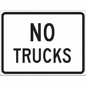 "Text No Trucks, Engineer Grade Aluminum Traffic Sign, Height 18"", Width 24"""