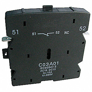 Auxiliary Contact, 10 Amps, Definite Purpose Type, Side Mounting