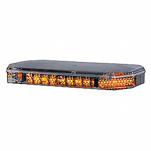 Amber Low Profile Mini Lightbar, LED Lamp Type, Permanent Mounting, Number of Heads: 8
