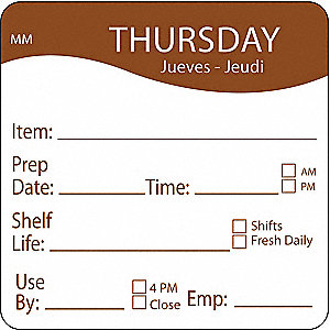 "Removable Day Label, Paper, Circle, Width 2"", Height 2"", 500 PK"
