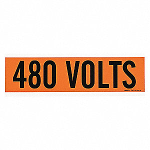 "Conduit and Voltage Markers, Markers per Card: 1, 9"" x 2-1/4"", 480 Volts Legend"