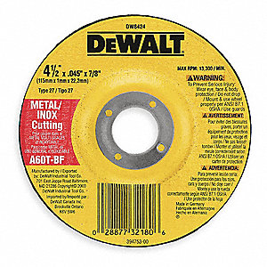 "4-1/2"" Abrasive Cut-Off Wheel, Aluminum Oxide, 0.045"" Thickness, 7/8"" Arbor Size, Type 27"