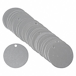 "Natural Blank Tag, Aluminum, Round, 1-1/2"" Height, 25 PK"
