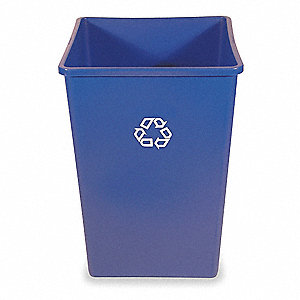 35 gal. Blue Stationary Recycling Container, Open Top
