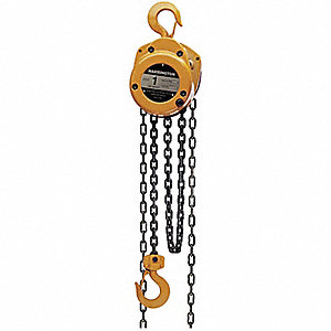 "Manual Chain Hoist, 4000 lb. Load Capacity, 10 ft. Lift, 1-3/8"" Hook Opening"