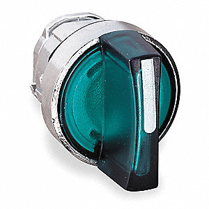 22mm LED 3- Position Illuminated Selector Switch Operator, Metal, Green