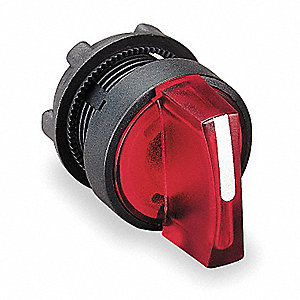 22mm LED 3- Position Illuminated Selector Switch Operator, Plastic, Red