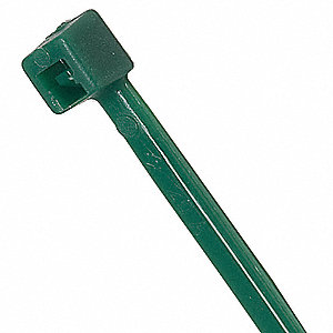 Standard Indoor Cable Tie, Nylon, Green, Outdoor, Tensile Strength: 50 lb.