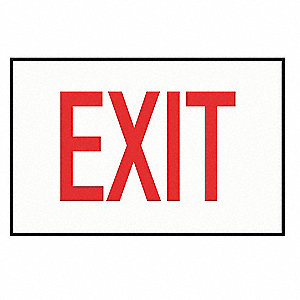 Exit Sign Decal,NWP Series,Red Exit