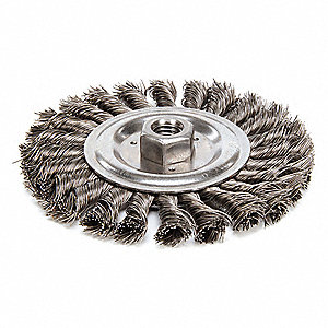 "Threaded Arbor Wire Wheel Brush, Twist Wire, 6"" Brush Dia."
