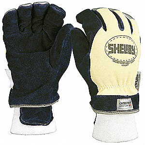 Structural Firefighters Gloves, Wristlet Cuff, Cowhide Leather