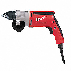 "3/8"" Electric Drill, 7 Amps, Pistol Grip Handle Style, 0 to 1200 No Load RPM, Voltage 120"