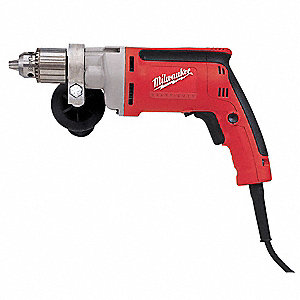 "1/2"" Electric Drill, 8 Amps, Pistol Grip Handle Style, 0 to 850 No Load RPM, Voltage 120"