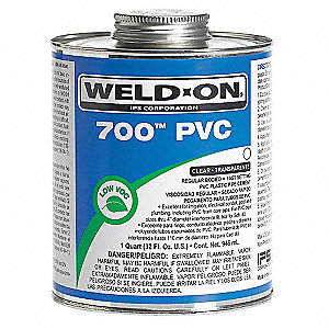 Pipe Cement,Clear,32 Oz,PVC