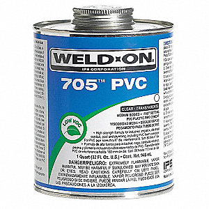 Pipe Cement,Clear,16 Oz,PVC