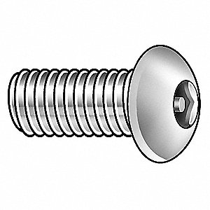 Mach Screw,Button,8-32x3/4 L,PK25