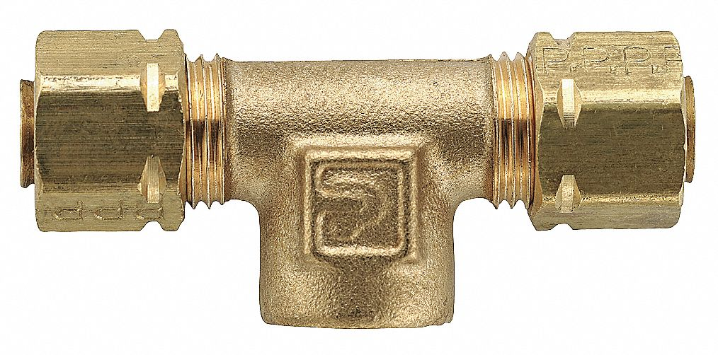 """PARKER Brass Compression x FNPT Female Branch Tee, 1/4"""" Tube Size   Compression Tube Fittings   6LG38