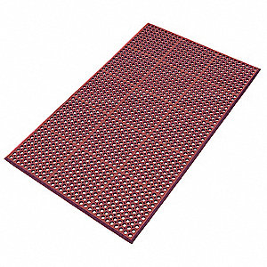 Drainage Mat, Red with Black Border, 5 ft. x 3 ft., Rubber, 1 EA
