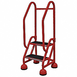 "Rolling Ladder, 48"" Overall Height, 450 lb. Load Capacity, Number of Steps 2"