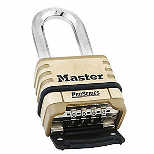Combination Padlock,Bottom,4 Dial,Brass