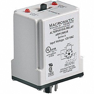 Alternating Relay, 10 Amps, 120VAC, 8 Pins, DPDT Cross-Wired